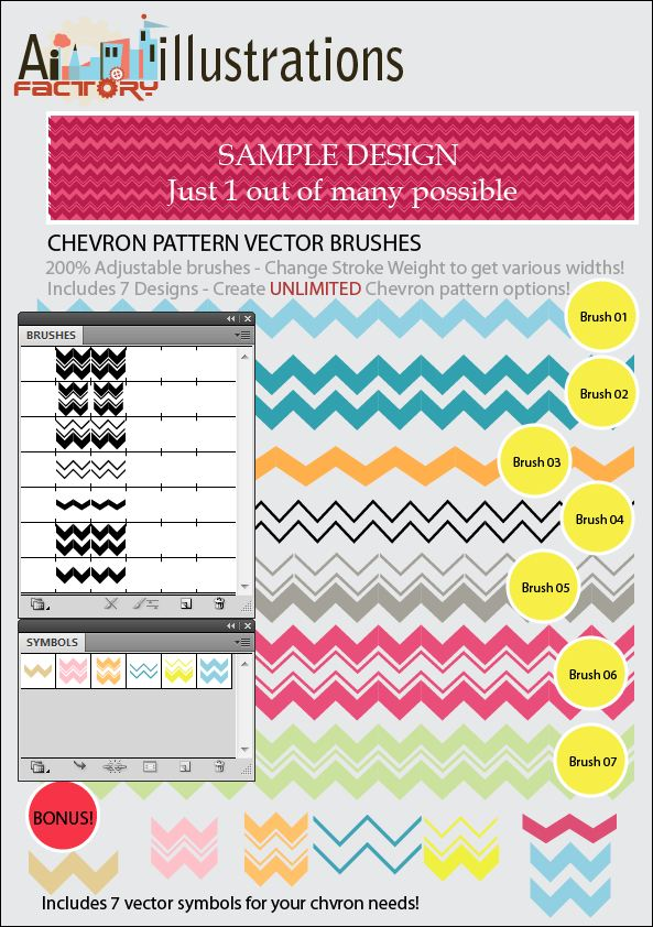 Chevron Pattern vector brushes and Vector symbols