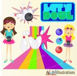 bowling-girls-rainbow-and-neon-birthday-illustrations