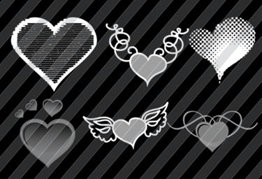 Happy Hearts Photoshop Brushes Free !